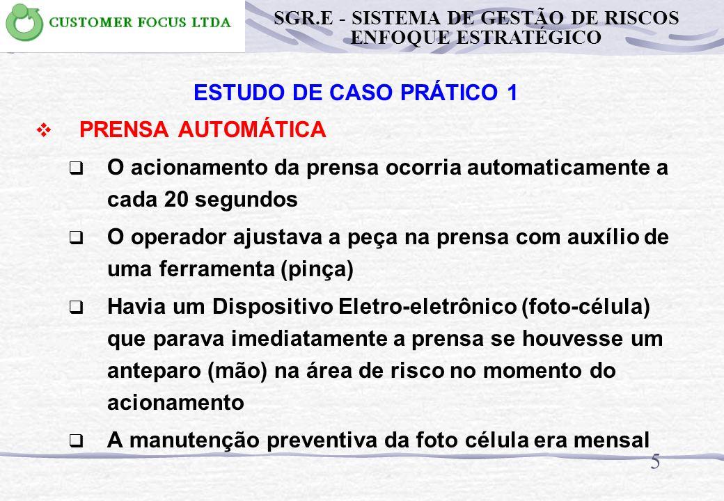 55 METODOLOGIA PARA IMPLANTAÇÃO DO SGR.E PROCESSO DE ESPECIFICAÇÃO DO EPI Operações de Transformação Inspeção do EPI EPI de uso permanente EPI de uso temporário EPI de Emergência Uniforme de trabalho SGR.E - SISTEMA DE GESTÃO DE RISCOS ENFOQUE ESTRATÉGICO