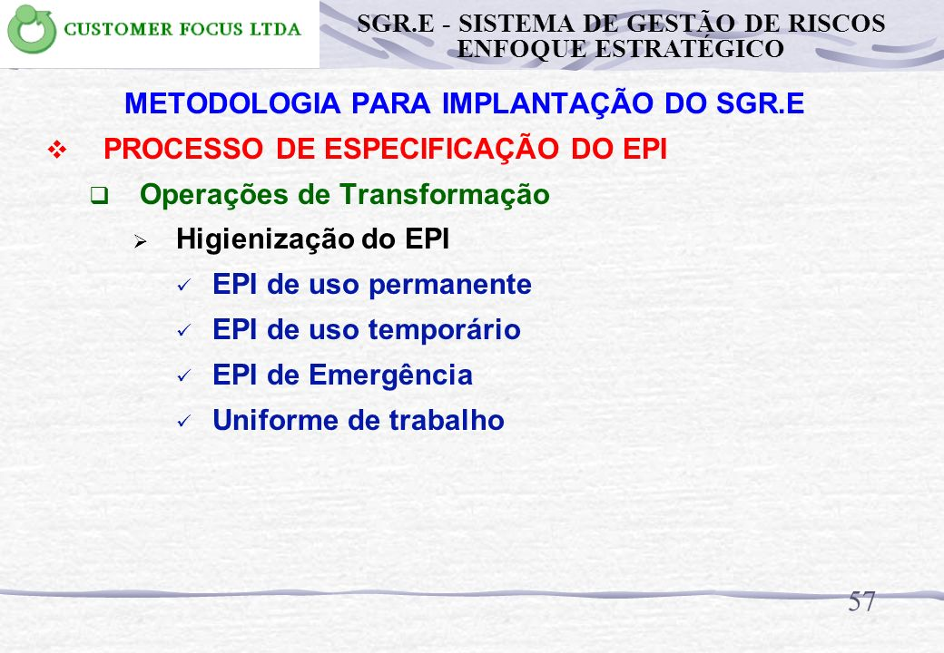 56 METODOLOGIA PARA IMPLANTAÇÃO DO SGR.E PROCESSO DE ESPECIFICAÇÃO DO EPI Operações de Transformação Manutenção do EPI EPI de uso permanente EPI de us