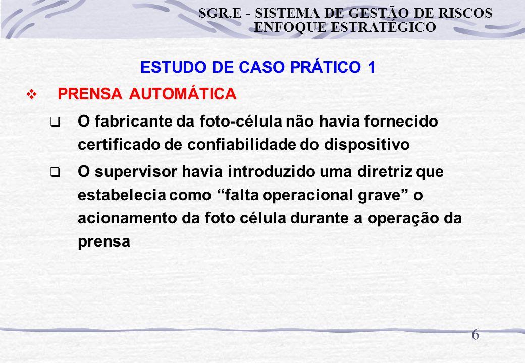 6 ESTUDO DE CASO PRÁTICO 1 PRENSA AUTOMÁTICA O fabricante da foto-célula não havia fornecido certificado de confiabilidade do dispositivo O supervisor havia introduzido uma diretriz que estabelecia como falta operacional grave o acionamento da foto célula durante a operação da prensa SGR.E - SISTEMA DE GESTÃO DE RISCOS ENFOQUE ESTRATÉGICO