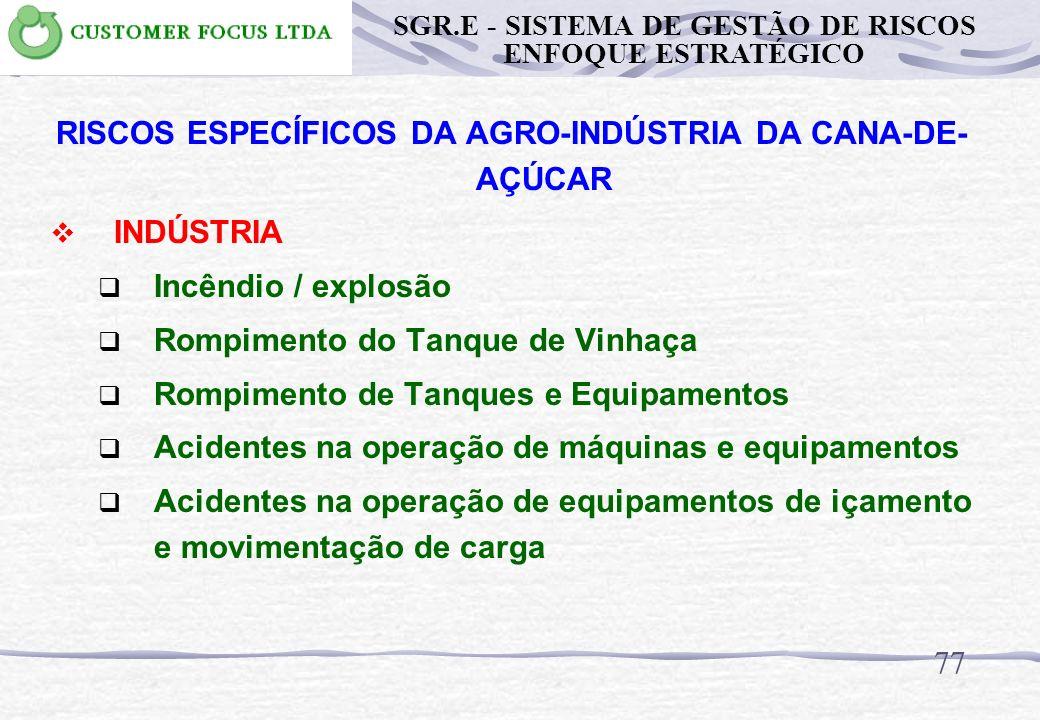 76 RISCOS ESPECÍFICOS DA AGRO-INDÚSTRIA DA CANA-DE- AÇÚCAR LAVOURA Impacto ambiental: meio biótico fauna Impacto ambiental meio biótico flora Impacto