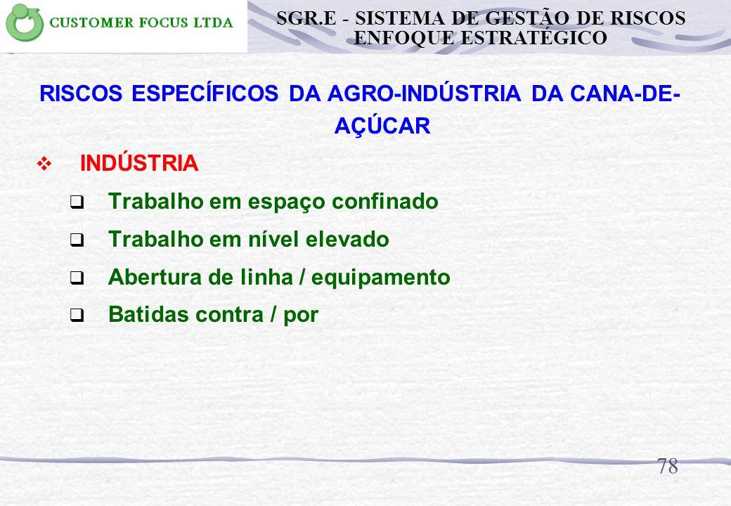77 RISCOS ESPECÍFICOS DA AGRO-INDÚSTRIA DA CANA-DE- AÇÚCAR INDÚSTRIA Incêndio / explosão Rompimento do Tanque de Vinhaça Rompimento de Tanques e Equip