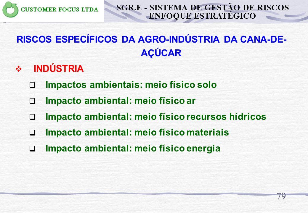 78 RISCOS ESPECÍFICOS DA AGRO-INDÚSTRIA DA CANA-DE- AÇÚCAR INDÚSTRIA Trabalho em espaço confinado Trabalho em nível elevado Abertura de linha / equipa