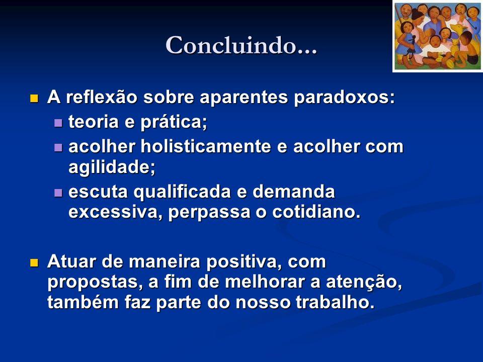 Concluindo... A reflexão sobre aparentes paradoxos: A reflexão sobre aparentes paradoxos: teoria e prática; teoria e prática; acolher holisticamente e