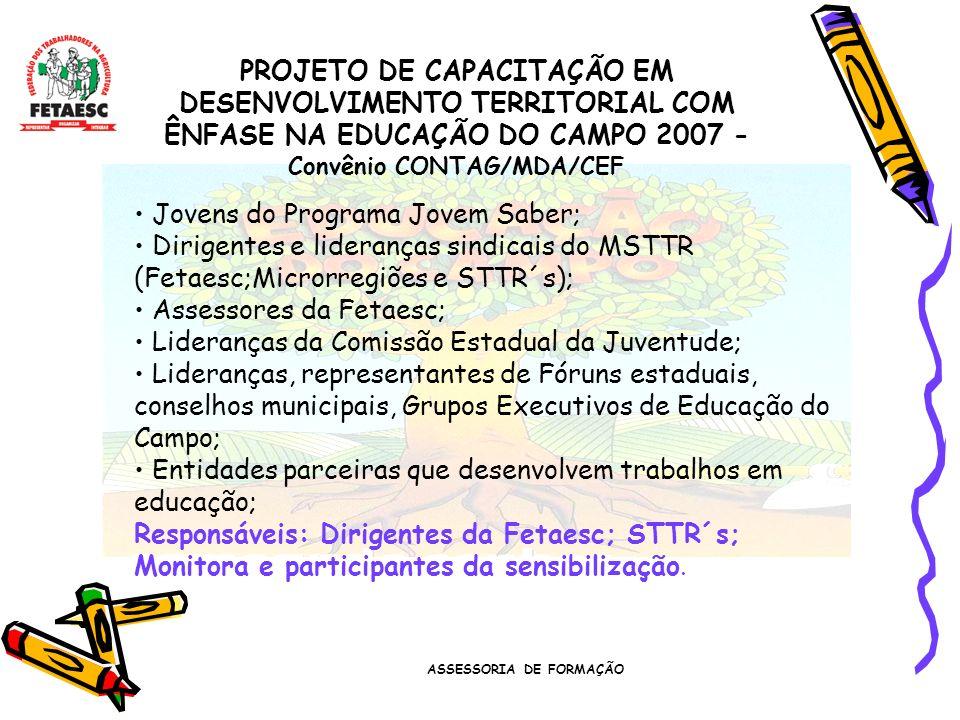ASSESSORIA DE FORMAÇÃO PROJETO DE CAPACITAÇÃO EM DESENVOLVIMENTO TERRITORIAL COM ÊNFASE NA EDUCAÇÃO DO CAMPO 2007 - Convênio CONTAG/MDA/CEF Jovens do Programa Jovem Saber; Dirigentes e lideranças sindicais do MSTTR (Fetaesc;Microrregiões e STTR´s); Assessores da Fetaesc; Lideranças da Comissão Estadual da Juventude; Lideranças, representantes de Fóruns estaduais, conselhos municipais, Grupos Executivos de Educação do Campo; Entidades parceiras que desenvolvem trabalhos em educação; Responsáveis: Dirigentes da Fetaesc; STTR´s; Monitora e participantes da sensibilização.