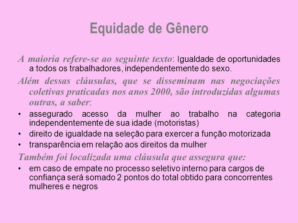 Equidade de Gênero A maioria refere-se ao seguinte texto : Igualdade de oportunidades a todos os trabalhadores, independentemente do sexo. Além dessas