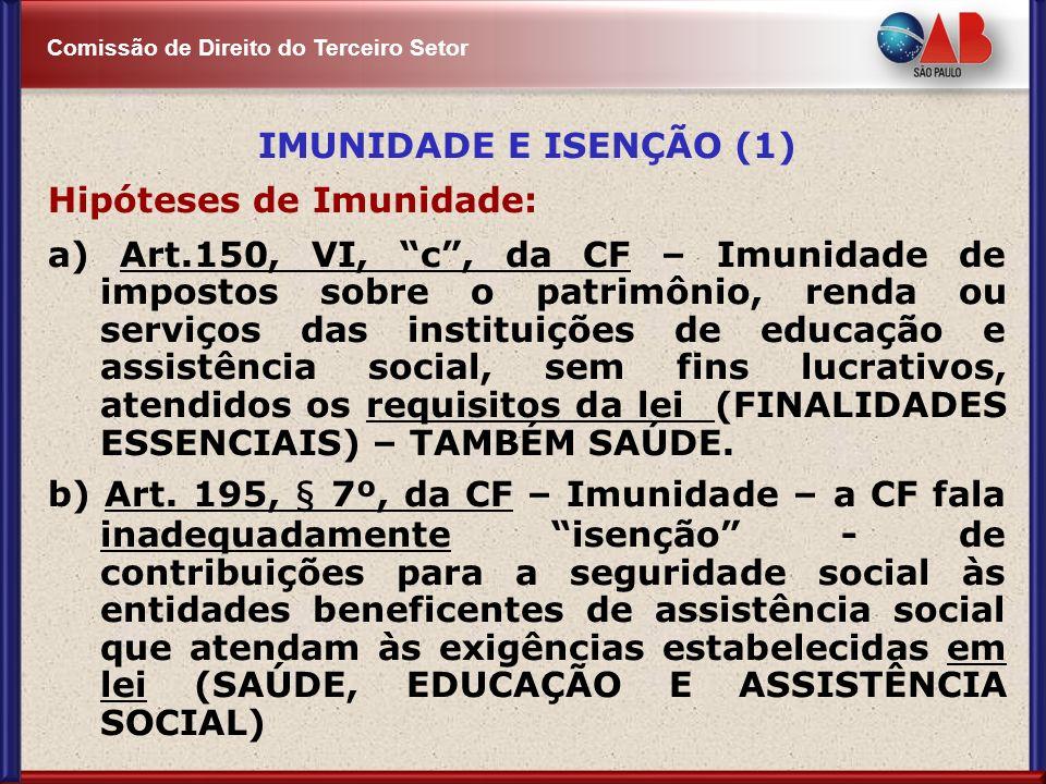 Comissão de Direito do Terceiro Setor IMUNIDADE E ISENÇÃO (1) Hipóteses de Imunidade: a) Art.150, VI, c, da CF – Imunidade de impostos sobre o patrimô