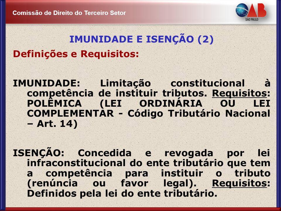 Comissão de Direito do Terceiro Setor IMUNIDADE E ISENÇÃO (2) Definições e Requisitos: IMUNIDADE: Limitação constitucional à competência de instituir