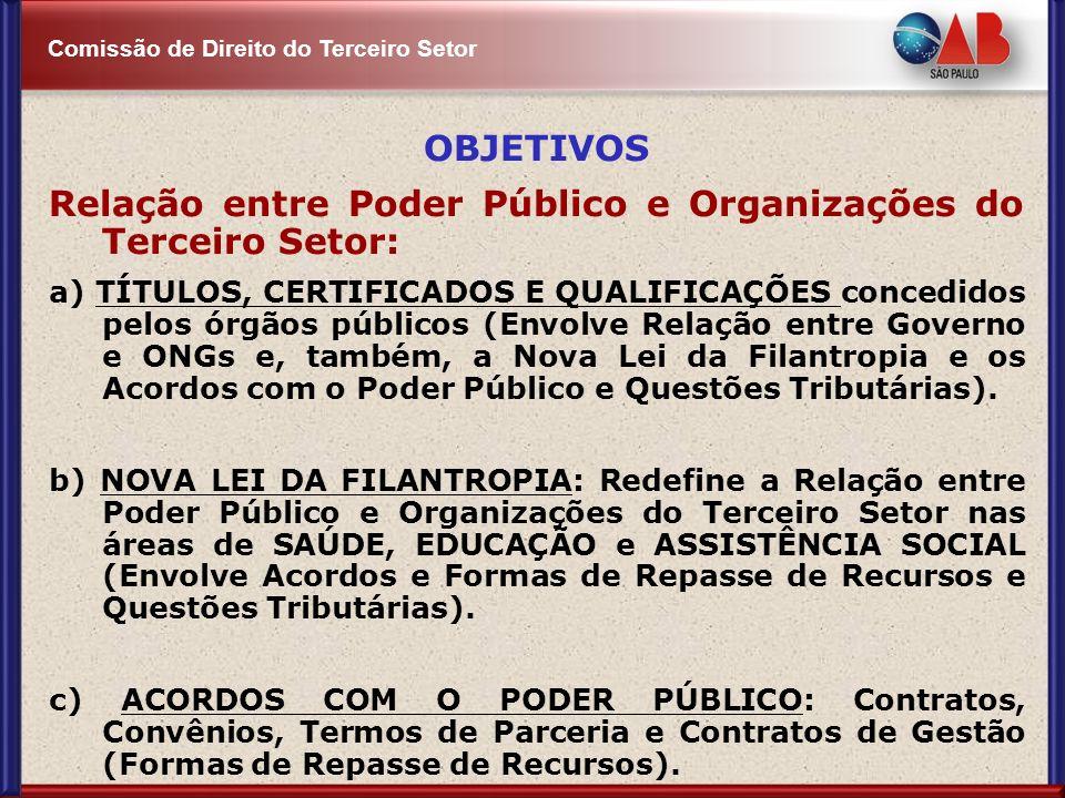 Comissão de Direito do Terceiro Setor OBJETIVOS Relação entre Poder Público e Organizações do Terceiro Setor: a) TÍTULOS, CERTIFICADOS E QUALIFICAÇÕES