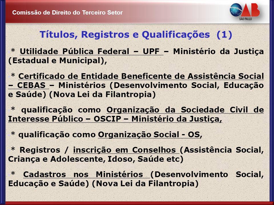 Comissão de Direito do Terceiro Setor Títulos, Registros e Qualificações (1) * Utilidade Pública Federal – UPF – Ministério da Justiça (Estadual e Mun