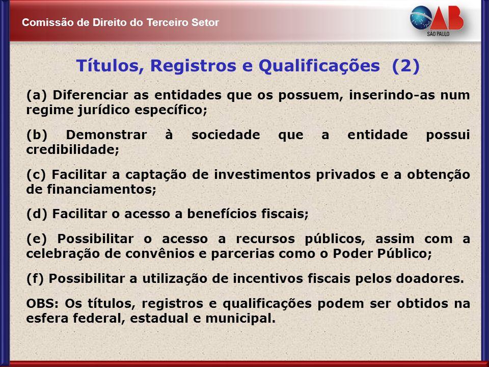 Comissão de Direito do Terceiro Setor Títulos, Registros e Qualificações (2) (a) Diferenciar as entidades que os possuem, inserindo-as num regime jurí