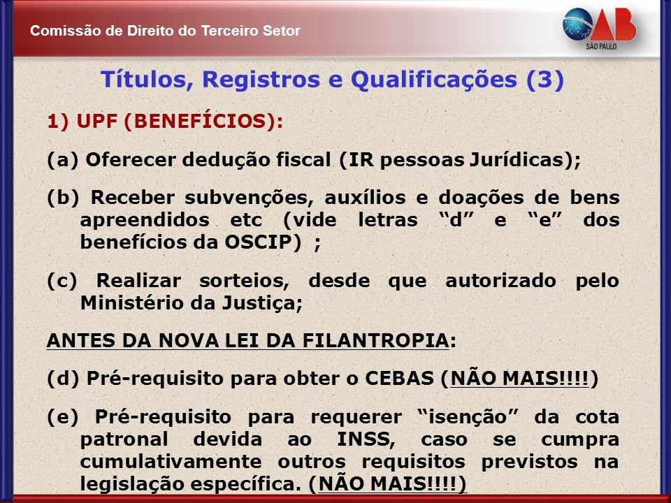 Comissão de Direito do Terceiro Setor Títulos, Registros e Qualificações (3) 1) UPF (BENEFÍCIOS): (a) Oferecer dedução fiscal (IR pessoas Jurídicas);