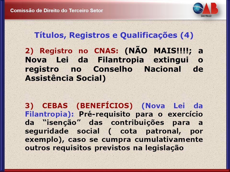 Comissão de Direito do Terceiro Setor Títulos, Registros e Qualificações (4) 2) Registro no CNAS: (NÃO MAIS!!!!; a Nova Lei da Filantropia extingui o