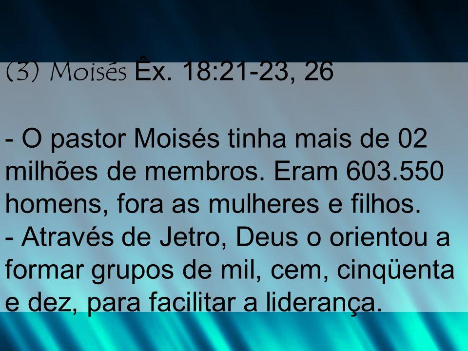 - Significa que Moisés precisou de aproximadamente: 60.000 líderes de 10 12.000 líderes de 50 6.000 líderes de 100 600 líderes de 1.000 Total de 78.600 líderes