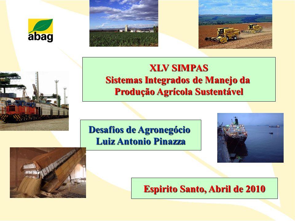 XLV SIMPAS Sistemas Integrados de Manejo da Produção Agrícola Sustentável Desafios de Agronegócio Luiz Antonio Pinazza Espirito Santo, Abril de 2010