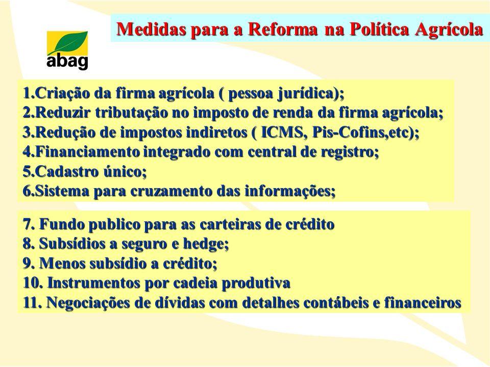 Medidas para a Reforma na Política Agrícola 1.Criação da firma agrícola ( pessoa jurídica); 2.Reduzir tributação no imposto de renda da firma agrícola