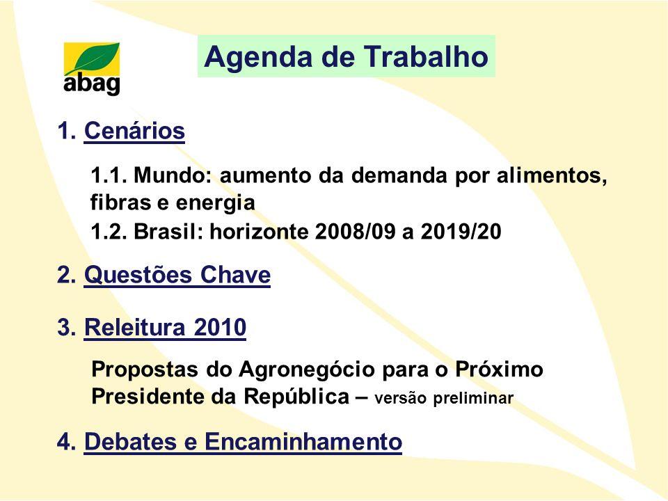 1.1. Mundo: aumento da demanda por alimentos, fibras e energia 1.2. Brasil: horizonte 2008/09 a 2019/20 1. Cenários 3. Releitura 2010 Propostas do Agr