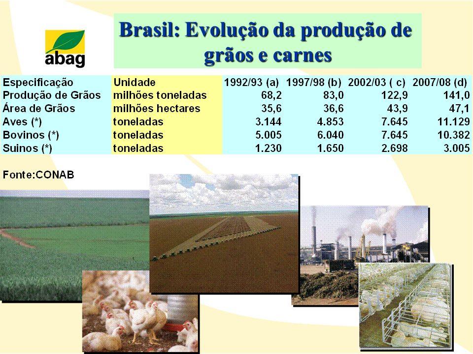 Brasil: Evolução da produção de grãos e carnes
