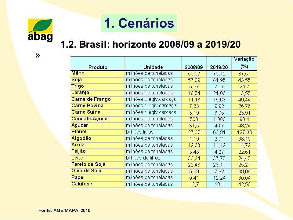 1.2. Brasil: horizonte 2008/09 a 2019/20 Fonte: AGE/MAPA, 2010 1. Cenários »