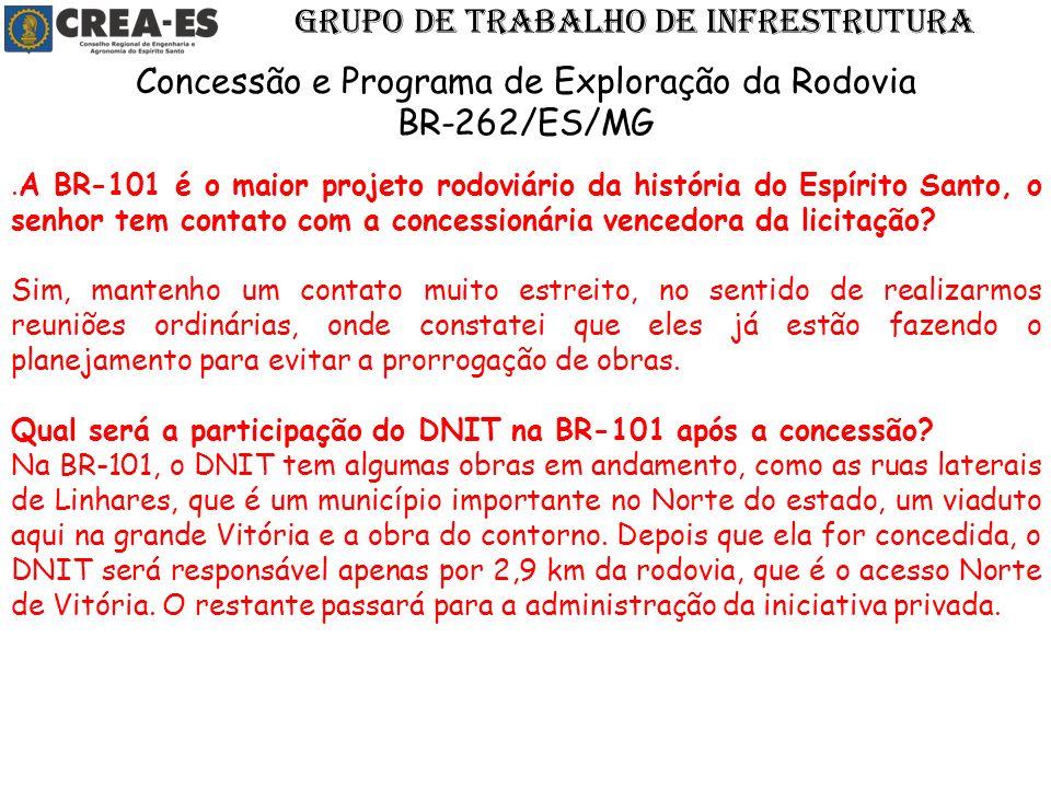 .A BR-101 é o maior projeto rodoviário da história do Espírito Santo, o senhor tem contato com a concessionária vencedora da licitação? Sim, mantenho