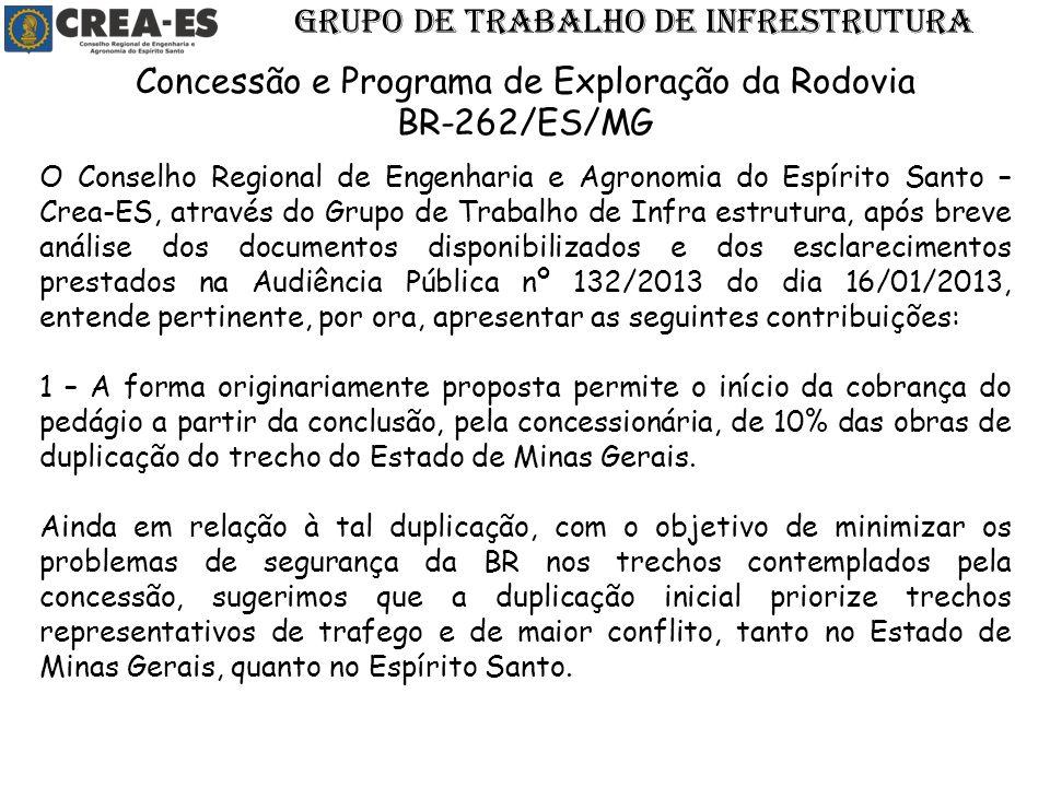 O Conselho Regional de Engenharia e Agronomia do Espírito Santo – Crea-ES, através do Grupo de Trabalho de Infra estrutura, após breve análise dos doc