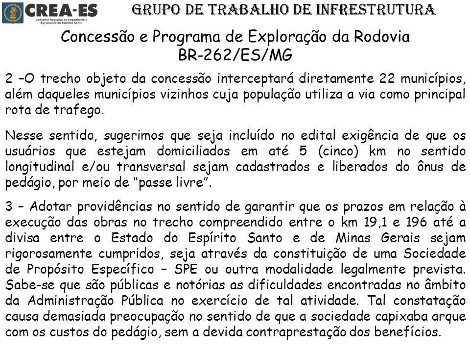 GRUPO DE TRABALHO DE INFRESTRUTURA Concessão e Programa de Exploração da Rodovia BR-262/ES/MG 2 –O trecho objeto da concessão interceptará diretamente
