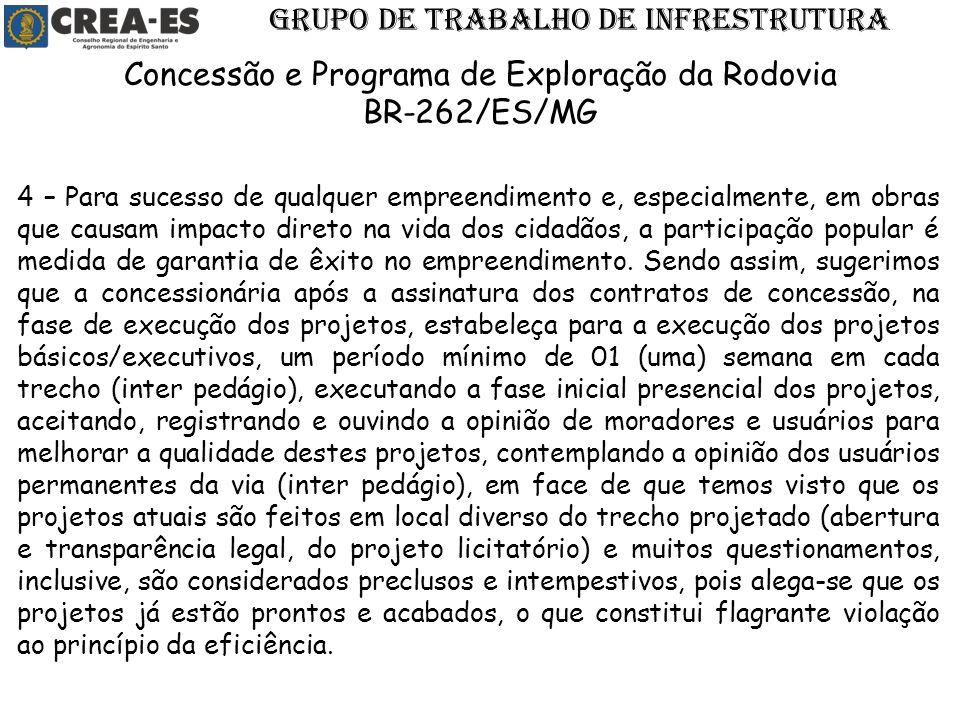 GRUPO DE TRABALHO DE INFRESTRUTURA Concessão e Programa de Exploração da Rodovia BR-262/ES/MG 4 – Para sucesso de qualquer empreendimento e, especialm