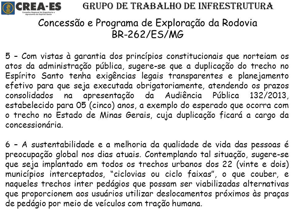 GRUPO DE TRABALHO DE INFRESTRUTURA Concessão e Programa de Exploração da Rodovia BR-262/ES/MG 5 – Com vistas à garantia dos princípios constitucionais