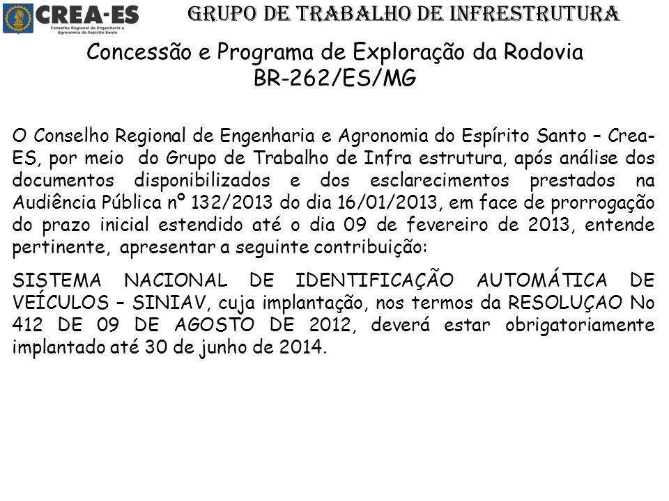 O Conselho Regional de Engenharia e Agronomia do Espírito Santo – Crea- ES, por meio do Grupo de Trabalho de Infra estrutura, após análise dos documen