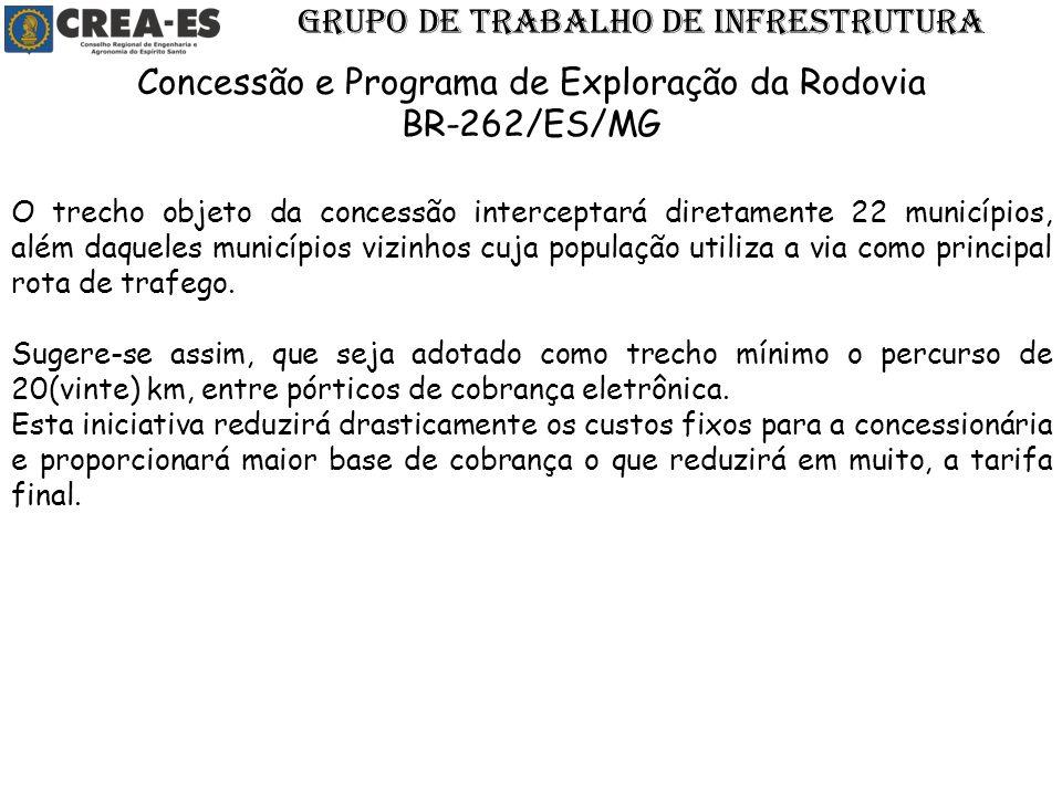 O trecho objeto da concessão interceptará diretamente 22 municípios, além daqueles municípios vizinhos cuja população utiliza a via como principal rot