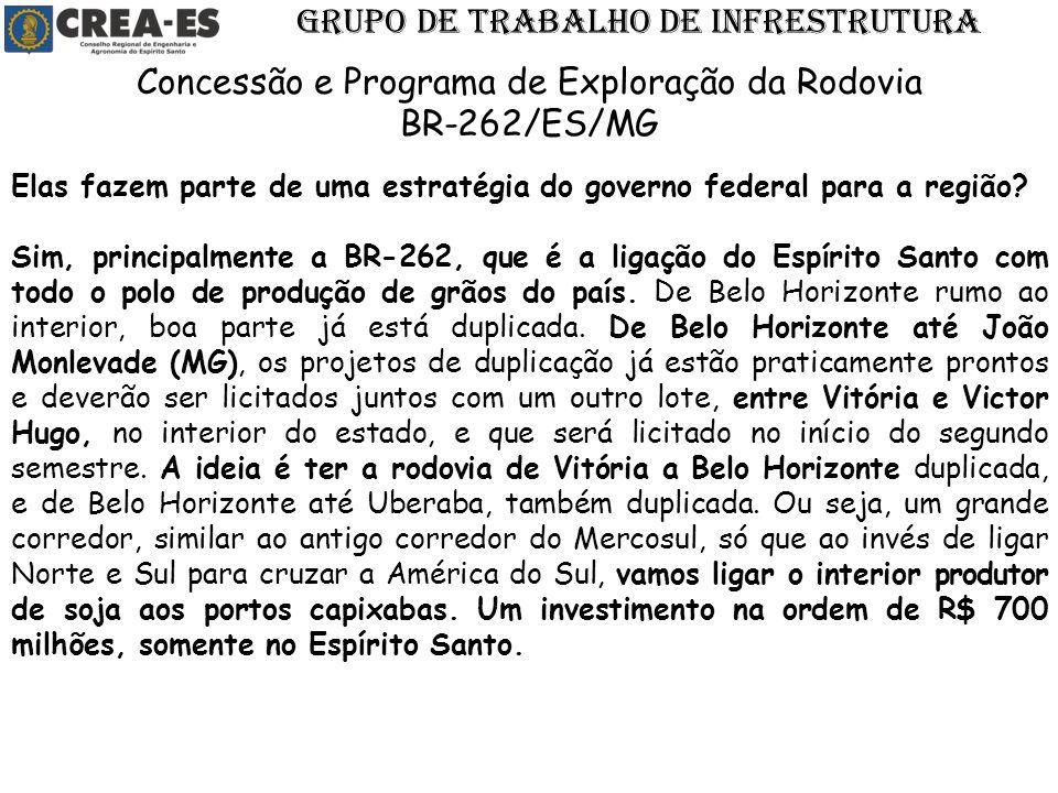 Elas fazem parte de uma estratégia do governo federal para a região? Sim, principalmente a BR-262, que é a ligação do Espírito Santo com todo o polo d