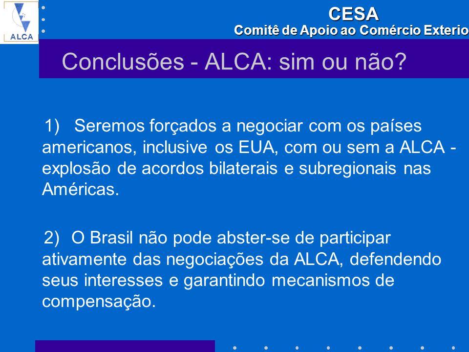 CESA Comitê de Apoio ao Comércio Exterior Conclusões - ALCA: sim ou não? 1) Seremos forçados a negociar com os países americanos, inclusive os EUA, co