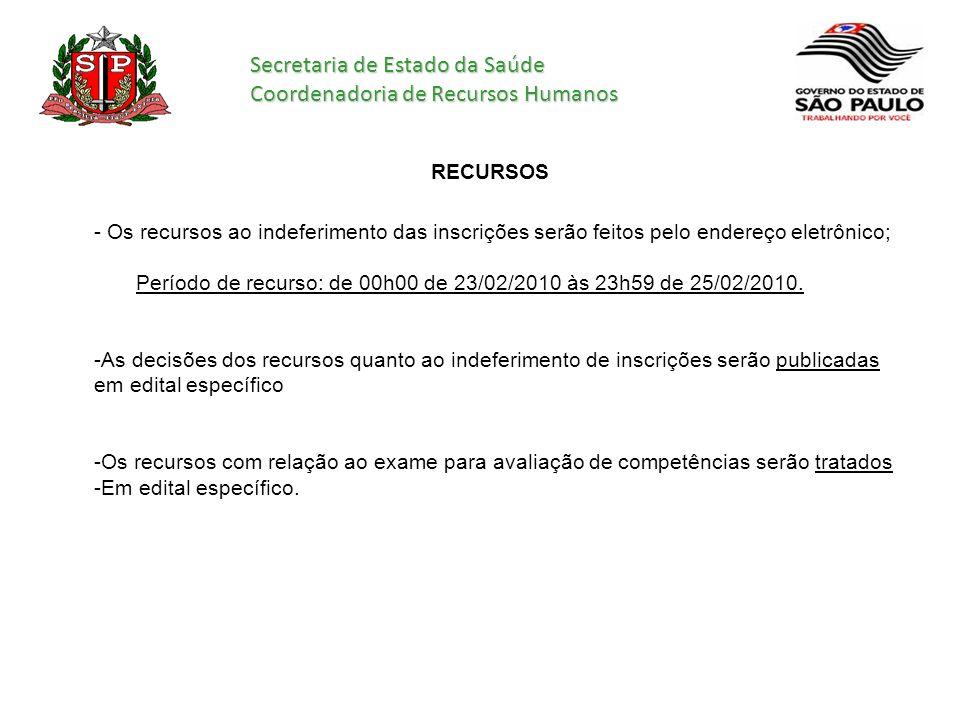 Secretaria de Estado da Saúde Coordenadoria de Recursos Humanos RECURSOS - Os recursos ao indeferimento das inscrições serão feitos pelo endereço elet