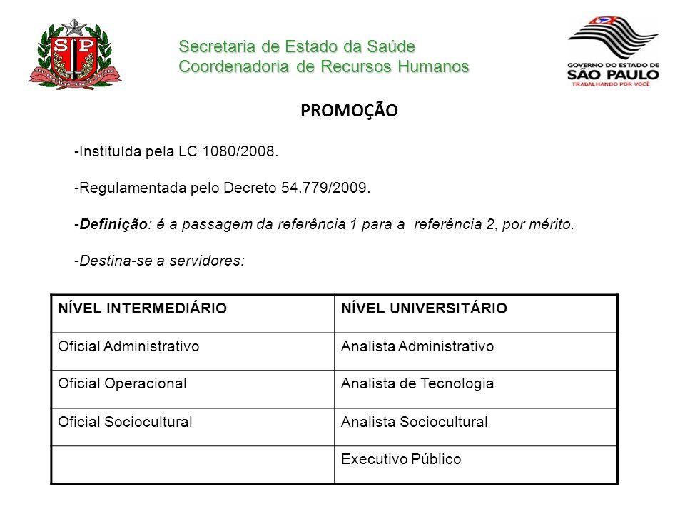 Secretaria de Estado da Saúde Coordenadoria de Recursos Humanos PROMOÇÃO -Instituída pela LC 1080/2008. -Regulamentada pelo Decreto 54.779/2009. -Defi