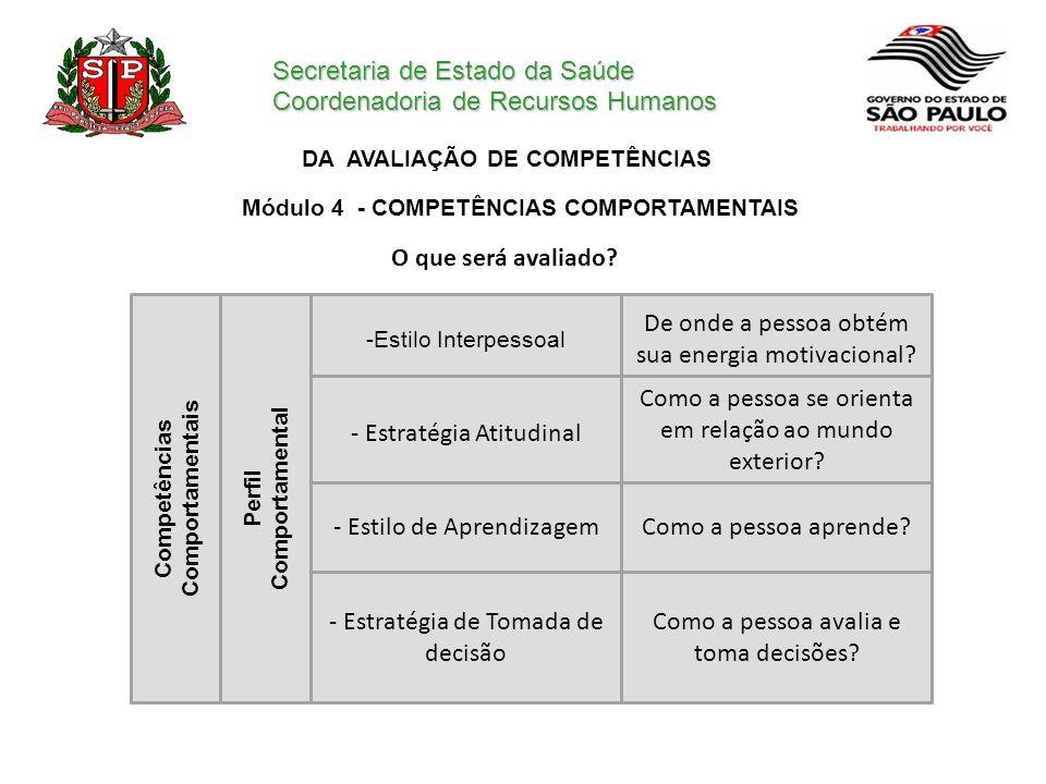 Secretaria de Estado da Saúde Coordenadoria de Recursos Humanos DA AVALIAÇÃO DE COMPETÊNCIAS O que será avaliado? Módulo 4 - COMPETÊNCIAS COMPORTAMENT