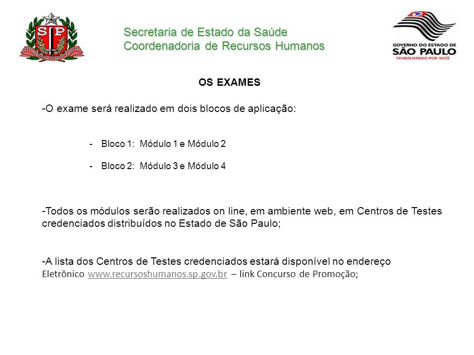 Secretaria de Estado da Saúde Coordenadoria de Recursos Humanos OS EXAMES -O exame será realizado em dois blocos de aplicação: -Bloco 1: Módulo 1 e Mó