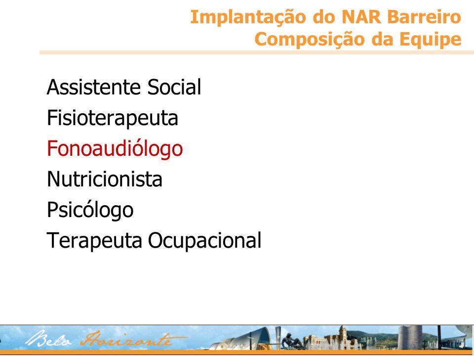 Implantação do NAR Barreiro Composição da Equipe Assistente Social Fisioterapeuta Fonoaudiólogo Nutricionista Psicólogo Terapeuta Ocupacional