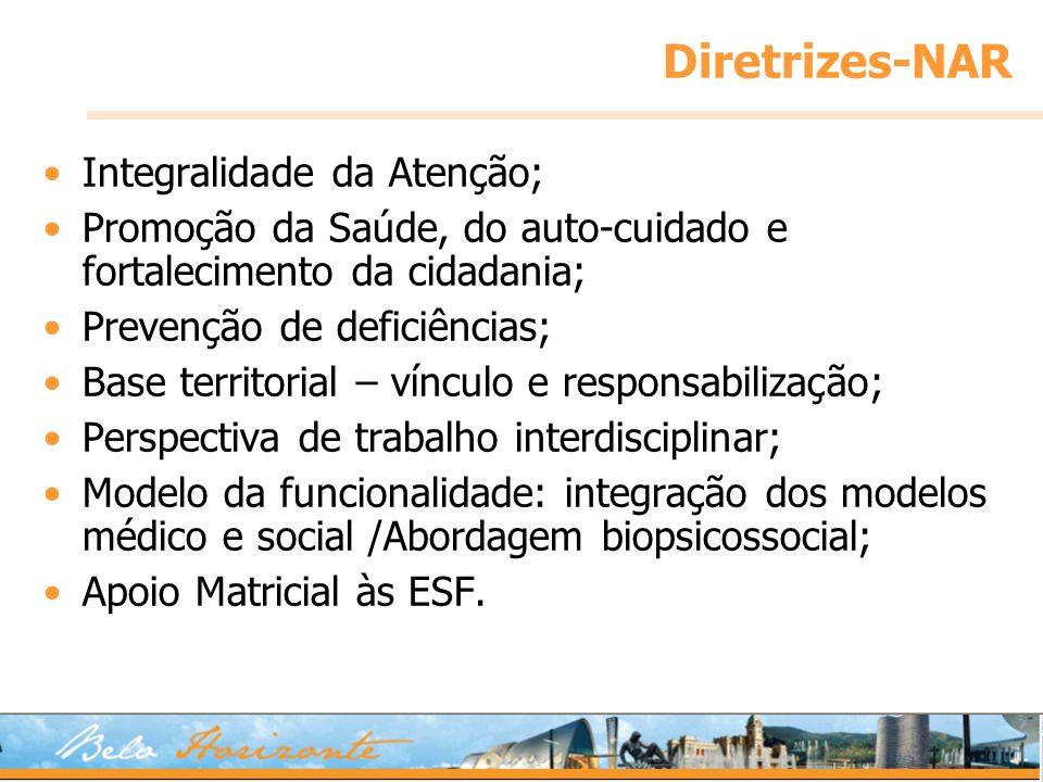 Diretrizes-NAR Integralidade da Atenção; Promoção da Saúde, do auto-cuidado e fortalecimento da cidadania; Prevenção de deficiências; Base territorial