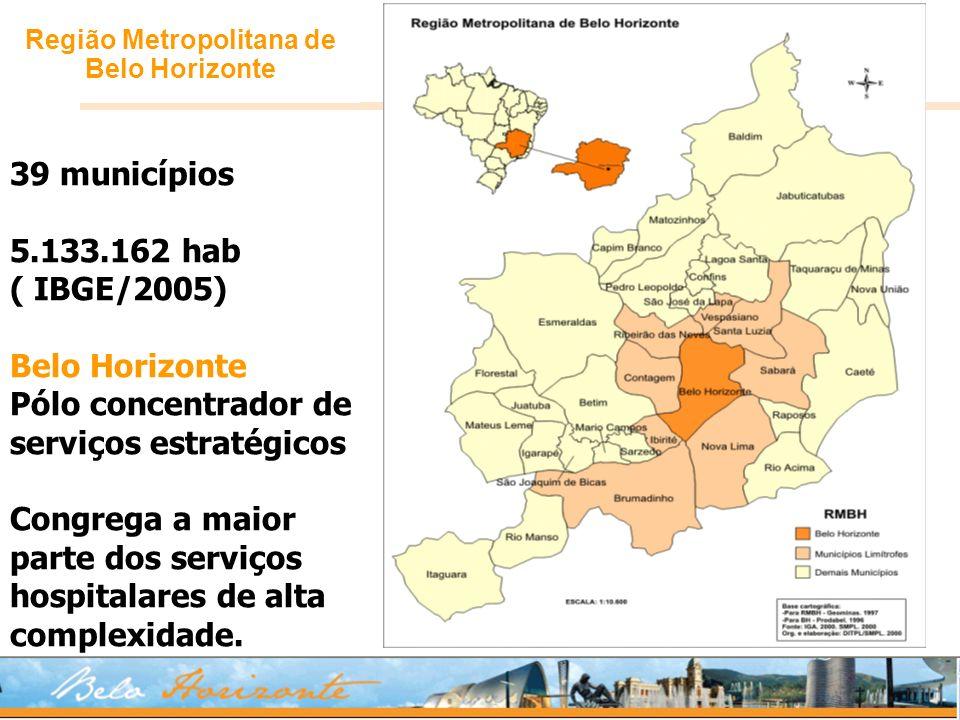 Região Metropolitana de Belo Horizonte 39 municípios 5.133.162 hab ( IBGE/2005) Belo Horizonte Pólo concentrador de serviços estratégicos Congrega a m