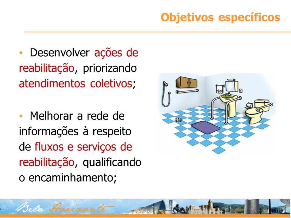 Objetivos específicos Desenvolver ações de reabilitação, priorizando atendimentos coletivos; Melhorar a rede de informações à respeito de fluxos e ser
