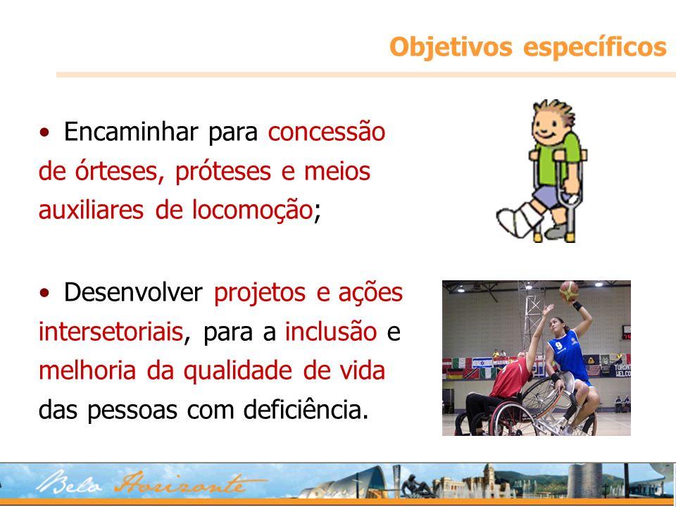 Objetivos específicos Encaminhar para concessão de órteses, próteses e meios auxiliares de locomoção; Desenvolver projetos e ações intersetoriais, par