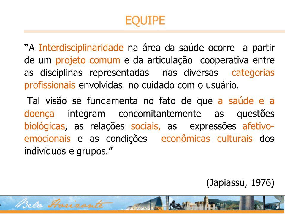 EQUIPE A Interdisciplinaridade na área da saúde ocorre a partir de um projeto comum e da articulação cooperativa entre as disciplinas representadas na