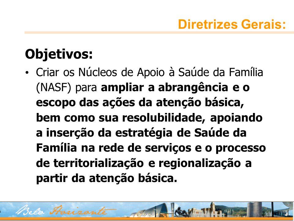 Diretrizes Gerais: Objetivos: Criar os Núcleos de Apoio à Saúde da Família (NASF) para ampliar a abrangência e o escopo das ações da atenção básica, b