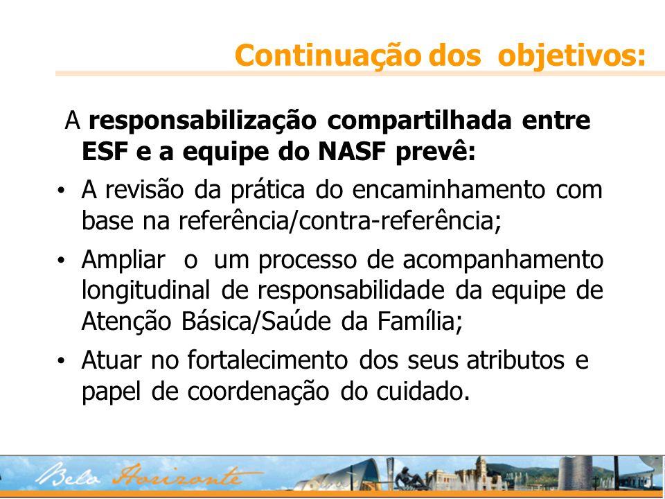 Continuação dos objetivos: A responsabilização compartilhada entre ESF e a equipe do NASF prevê: A revisão da prática do encaminhamento com base na re