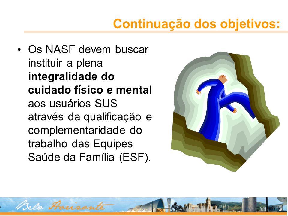 Continuação dos objetivos: Os NASF devem buscar instituir a plena integralidade do cuidado físico e mental aos usuários SUS através da qualificação e