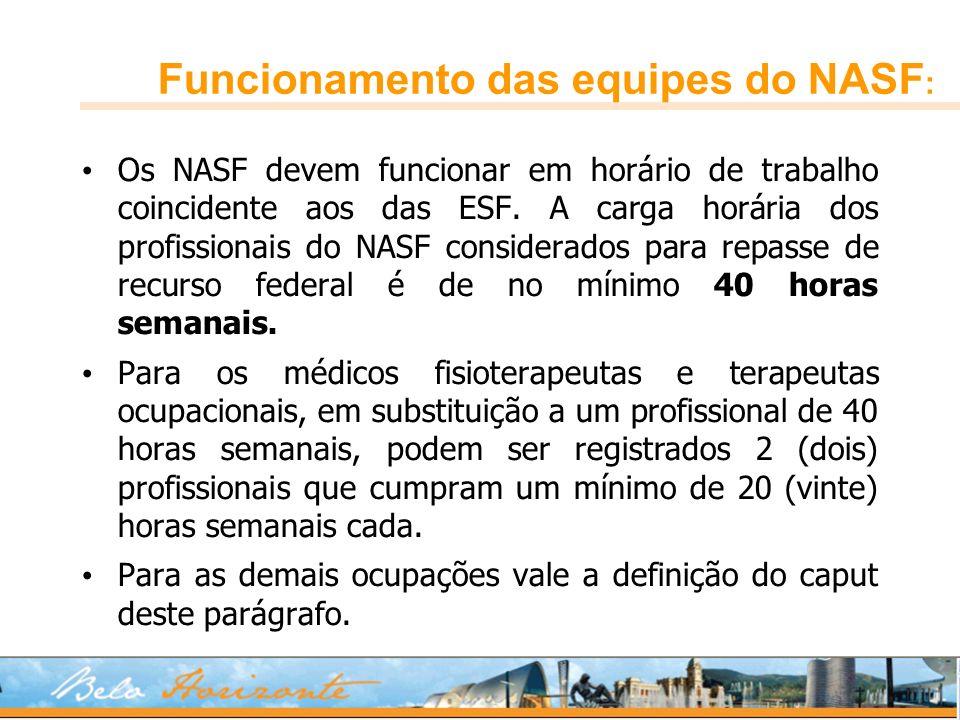 Funcionamento das equipes do NASF : Os NASF devem funcionar em horário de trabalho coincidente aos das ESF. A carga horária dos profissionais do NASF