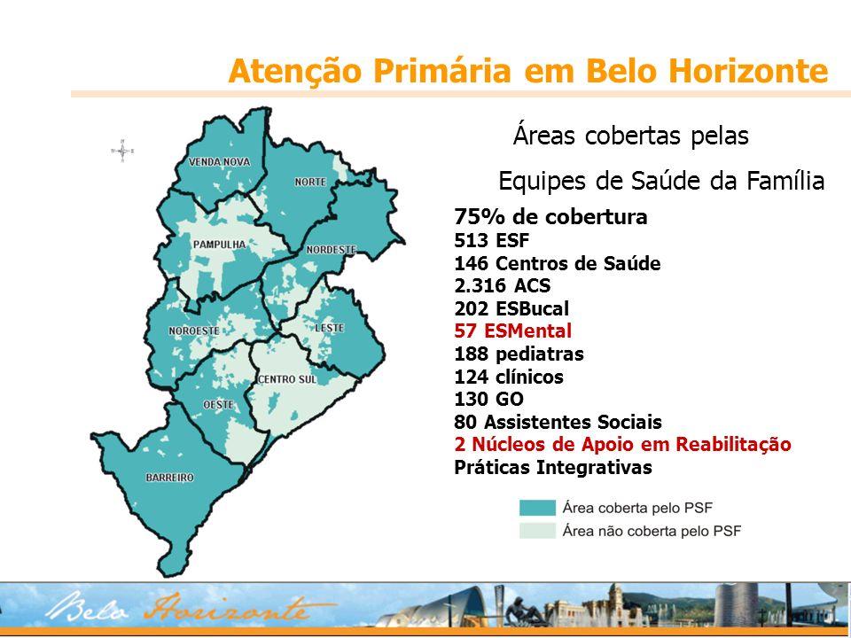 Áreas cobertas pelas Equipes de Saúde da Família Atenção Primária em Belo Horizonte 75% de cobertura 513 ESF 146 Centros de Saúde 2.316 ACS 202 ESBuca
