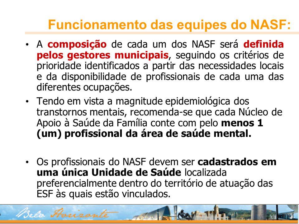 Funcionamento das equipes do NASF: A composição de cada um dos NASF será definida pelos gestores municipais, seguindo os critérios de prioridade ident