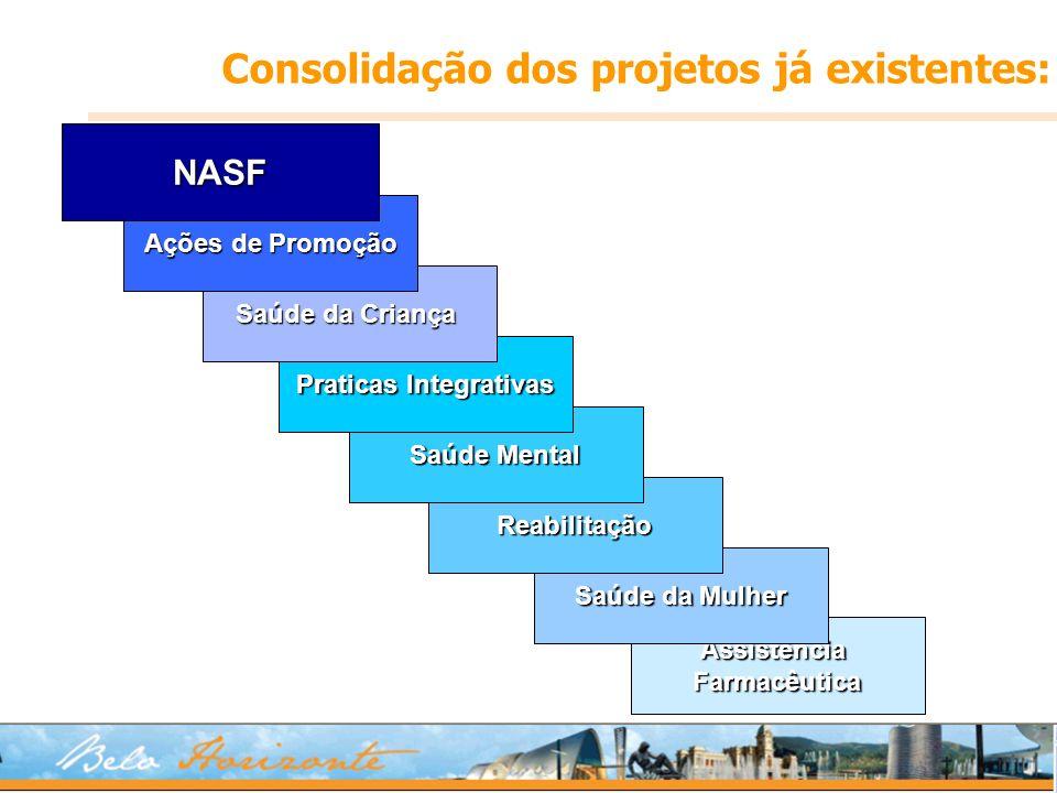 AssistênciaFarmacêutica Saúde da Mulher Reabilitação Saúde Mental Praticas Integrativas Saúde da Criança Ações de Promoção NASF Consolidação dos proje