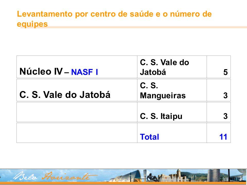 Núcleo IV – NASF I C. S. Vale do Jatobá5 C. S. Mangueiras 3 C. S. Itaipu3 Total11 Levantamento por centro de saúde e o número de equipes
