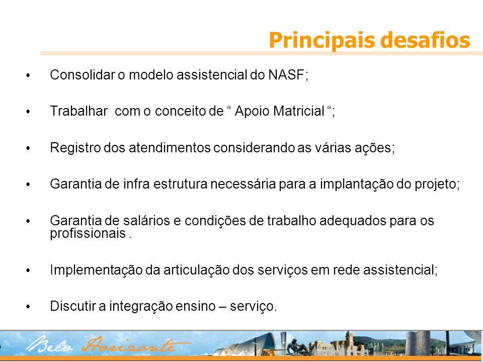 Principais desafios Consolidar o modelo assistencial do NASF; Trabalhar com o conceito de Apoio Matricial ; Registro dos atendimentos considerando as